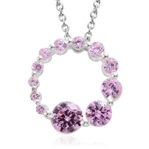 Simulated Pink Sapphire Sterling Silver Circle Pendant With Stainless Steel Chain (20 in) TGW 4.15 cts.