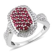 Burmese Red Spinel, Cambodian Zircon Platinum Over Sterling Silver Ring (Size 9.0) TGW 1.54 cts.