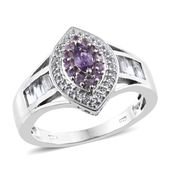 Madagascar Purple Sapphire, White Topaz Platinum Over Sterling Silver Split Ring (Size 10.0) TGW 1.67 cts.