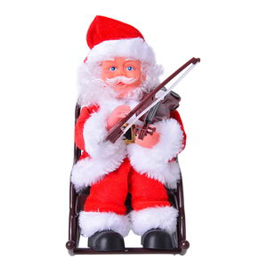 Singing Electric Playing Violin Santa Claus Toys (6.29x13.38 in) (3xAA Batteries Not Included)