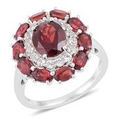 Mozambique Garnet, White Topaz Sterling Silver Dual Halo Ring (Size 9.0) TGW 7.40 cts.
