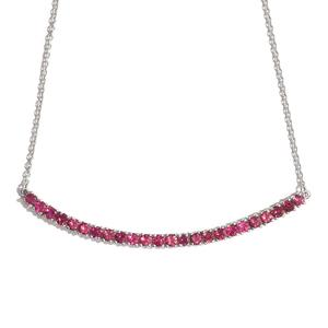 Ouro Fino Rubellite Platinum Over Sterling Silver Bar Necklace (18 in) TGW 2.45 cts.