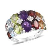 Multi Gemstone Ring in Platinum Over Sterling Silver Total Gem Stone Weight 9.01 cts (Size 5.0)