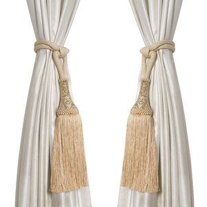 Beige 50% Polyester and 50% Cotton, Acrylic Beads Curtains Tie Back (31-32 in)
