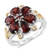 Mozambique Garnet 14K YG and Platinum Over Sterling Silver Floral Ring (Size 5.0) TGW 5.58 cts.