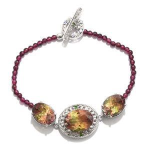 Rainbow Genesis Quartz, Multi Gemstone Platinum Over Sterling Silver Beaded Bracelet (7.50 In) TGW 39.03 cts.