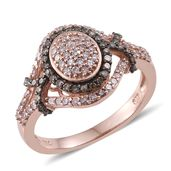 Natural Pink and Champagne Diamond Black Rhodium and 14K RG Over Sterling Silver Ring (Size 7.0) TDiaWt 1.00 cts, TGW 1.00 cts.