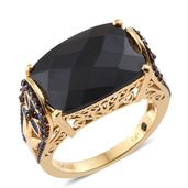 GP Thai Black Spinel, Mozambique Garnet, Kanchanaburi Blue Sapphire 14K YG Over Sterling Silver Ring (Size 7.0) TGW 15.90 cts.