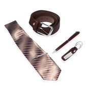 Men's Boxed Gift Set (Blue Ink Pen, Brown Keychain, Multi Color Stripe Pattern Tie with Clip, and Brown Faux Leather Men's Belt (48in)