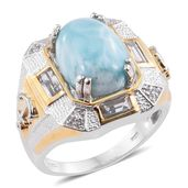Larimar, White Topaz 14K YG and Platinum Over Sterling Silver Anchor Men's Ring (Size 13.0) TGW 13.07 cts.