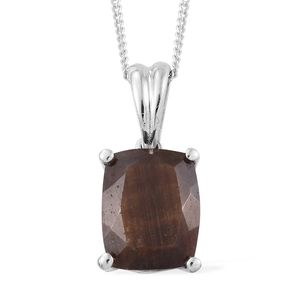 Chocolate Sapphire Platinum Over Sterling Silver Solitaire Pendant With Chain (20 in) TGW 4.40 cts.