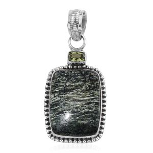 Artisan Crafted Green Zebra Jasper, Hebei Peridot Sterling Silver Pendant without Chain TGW 12.14 cts.