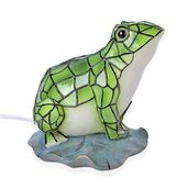 Doorbuster Multi Color Frog Night Lamp with wooden Base Stand (7.87x6.29x4.72 in)