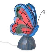 Multi Color Butterfly Night Lamp with wooden Base Stand (6.69x4.33x9.44 in)