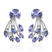 Tanzanite, White Topaz Platinum Over Sterling Silver Earrings TGW 4.06 cts.