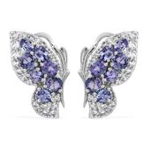 Tanzanite, White Topaz Platinum Over Sterling Silver butterfly Earrings TGW 3.78 cts.