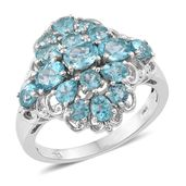 Madagascar Paraiba Apatite Platinum Over Sterling Silver Ring (Size 8.0) TGW 3.42 cts.