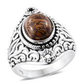Artisan Crafted Indian Script Stone Platinum Bond Brass Ring (Size 6.0) TGW 4.05 cts.