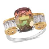 Rainbow Genesis Quartz, White Topaz 14K YG and Platinum Over Sterling Silver Ring (Size 6.0) TGW 9.70 cts.