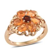 Salamanca Fire Opal, Mozambique Garnet 14K YG Over Sterling Silver Flower Ring (Size 10.0) TGW 1.79 cts.