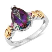 Northern Lights Mystic Topaz, Mahenge Pink Spinel 14K YG and Platinum Over Sterling Silver Ring (Size 8.0) TGW 5.25 cts.