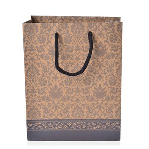 Set of 12 Floral Paper Gift Bags (9.5x4.5x7.5 in)