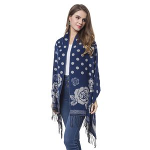 Navy Blue and White Rose and Polka Dot Pattern 60% Acrylic and 40% Polyester Reversible Shawl with Fringe (78x26 in)