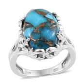 Karen's Fabulous Finds Mojave Blue Turquoise Platinum Over Sterling Silver Ring (Size 5.0) ts. TGW 12.40 cts.