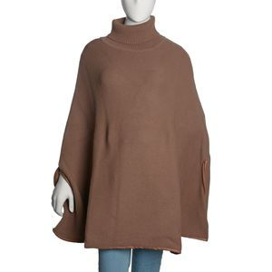 Camel Merino Wool Turtleneck Cape Poncho with Leather Trim and Arm Holes (One Size)