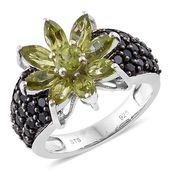 Jessica's Host Pick Hebei Peridot, Thai Black Spinel Black Rhodium & Platinum Over Sterling Silver Sunflower Ring (Size 8.0) TGW 4.25 cts.