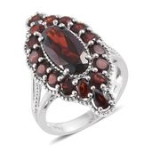 Mozambique Garnet Platinum Over Sterling Silver Ring (Size 10.0) TGW 8.15 cts.