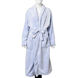 Powder Blue Flannel Robe with Sherpa on Collar (One Size)