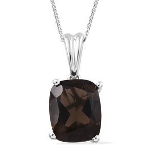 Brazilian Smoky Quartz Platinum Over Sterling Silver Pendant With Chain (20 in) TGW 2.85 cts.