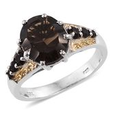 Brazilian Smoky Quartz 14K YG and Platinum Over Sterling Silver Ring (Size 8.0) TGW 4.79 cts.