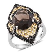 Brazilian Smoky Quartz, Thai Black Spinel 14K YG and Platinum Over Sterling Silver Elongated Ring (Size 6.0) TGW 8.55 cts.