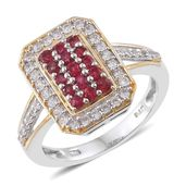 Burmese Red Spinel, Cambodian Zircon 14K YG and Platinum Over Sterling Silver Cluster Ring (Size 7.0) TGW 1.28 cts.