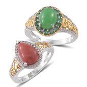 One Day TLV Burmese Green Jade, Oregon Peach Opal, Kagem Zambian Emerald, Cambodian Zircon 14K YG and Platinum Over Sterling Silver Set of 2 Ring (Size 7) TGW 6.76 cts.