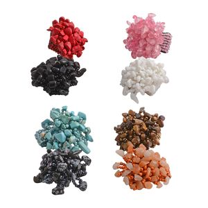 Set of 8 Multi Gemstone, Multi Color Seed Beads Cluster Statement Rings (Stretchable) TGW 140.00 cts.