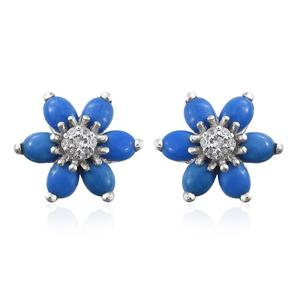 Ceruleite, Cambodian Zircon Platinum Over Sterling Silver Flower Stud Earrings TGW 1.85 cts.