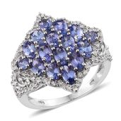 Tanzanite, Cambodian Zircon Platinum Over Sterling Silver Cluster Ring (Size 6.0) TGW 4.50 cts.