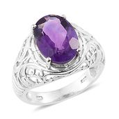 Lusaka Amethyst Platinum Over Sterling Silver Ring (Size 7.0) TGW 5.65 cts.
