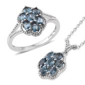 Karen's Fabulous Finds London Blue Topaz Platinum Over Sterling Silver Ring (Size 8) and Pendant With Chain (20 in) TGW 2.90 cts.
