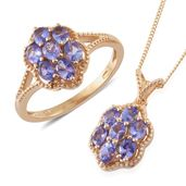 Karen's Fabulous Finds Tanzanite (2A) 14K YG Over Sterling Silver Ring (Size 6) and Pendant With Chain (20 in) TGW 2.40 cts.