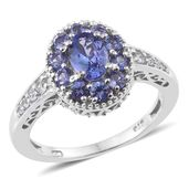 Premium AAA Tanzanite, Cambodian Zircon Platinum Over Sterling Silver Ring (Size 6.0) TGW 1.96 cts.