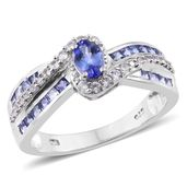 Premium AAA Tanzanite, Cambodian Zircon Platinum Over Sterling Silver Ring (Size 6.0) TGW 1.70 cts.