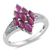 Burmese Ruby, Cambodian Zircon Platinum Over Sterling Silver Split Ring (Size 9.0) TGW 1.85 cts.