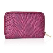 Burgundy Snake Skin Pattern Vegan Leather Wallet (6x1x4 in)