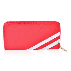 Red and White Faux Leather Wallet (7.5x1x4 in)