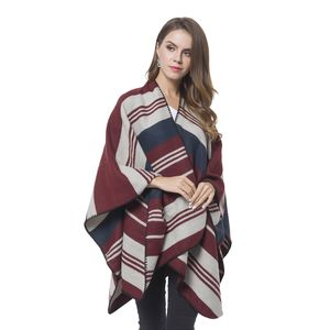 Navy and Wine Red Stipe Pattern Cozy Shawl Wrap