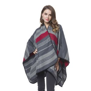 Gray and Red Stipe Pattern Cozy Shawl Wrap